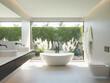 Leinwanddruck Bild 3d contemporary minimal design beige bathroom with a bathtub and a view to garden with pampas grass