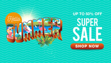 Summer Sale Banner With Vintag...