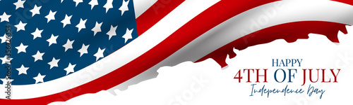 Fototapeta July 4th banner or header background. United States of America national flag with stars and stripes. USA independence day celebration. Realistic vector illustration. obraz