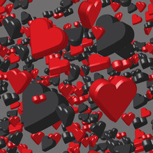 Red Black Hearts On Gray Seamless Pattern