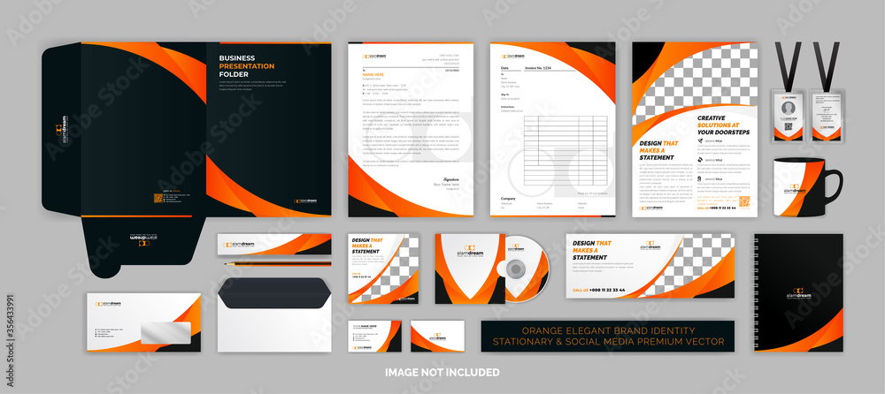 Fototapeta Orange elegant BRAND identity stationary & SOCIAL MEDIA Premium Vector set