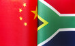 canvas print picture - fragments of the national flags of China and South Africa close-up