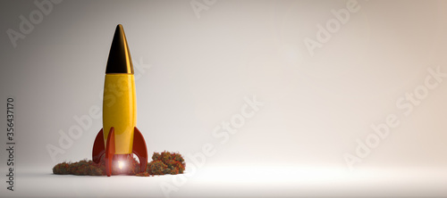 Fotografie, Obraz starting colorful rocket on white background