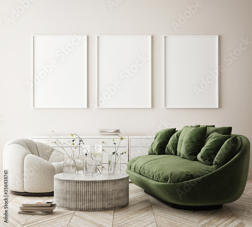 Fotografie, Obraz mock up poster frame in modern interior background, living room, Scandinavian st