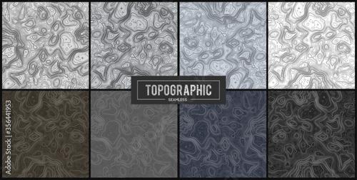 Fotografie, Obraz Set of 8 Topographic map contour backgrounds