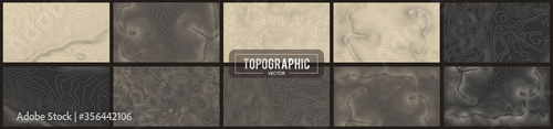 Set of 10 Topographic map contour backgrounds Fotobehang