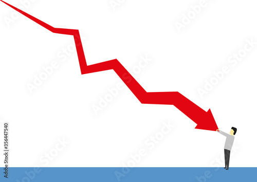 Photo Person trying to stop a falling red chart on white background