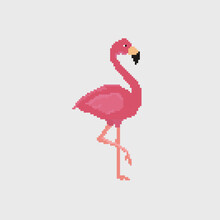 Pixel Art Pink Flamingo Detailed Illustration Isolated Vector