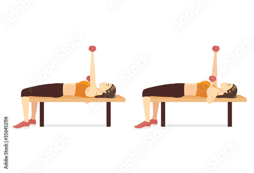 Fotomural Sport Woman doing Alternating Dumbbell Bench Press in 2 steps