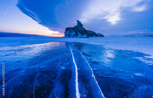 Obraz na plátne The popular sights of Lake Baikal in Russia, the stunning winter landscape