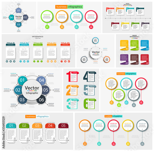 Fototapeta Collection of colorful infographic can be used for workflow layout, diagram, number options, web design. Infographic business concept with options, parts, steps or processes. Vector Eps 10 obraz na płótnie