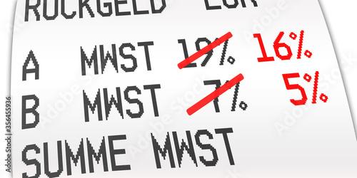 ngb12 NewGraphicBanner ngb - german: Mehrwertsteuer, Kaufbeleg, Kassenbon, Mehrwertsteuersatz von 19 Prozent auf 16 % und von 7 Prozent auf 5 %. - Quittung - financial / invoice - deutsch 2to1 - g9732