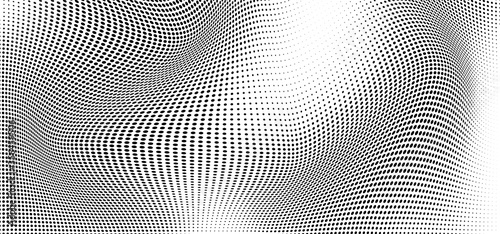 Abstract wave halftone black and white Fototapet