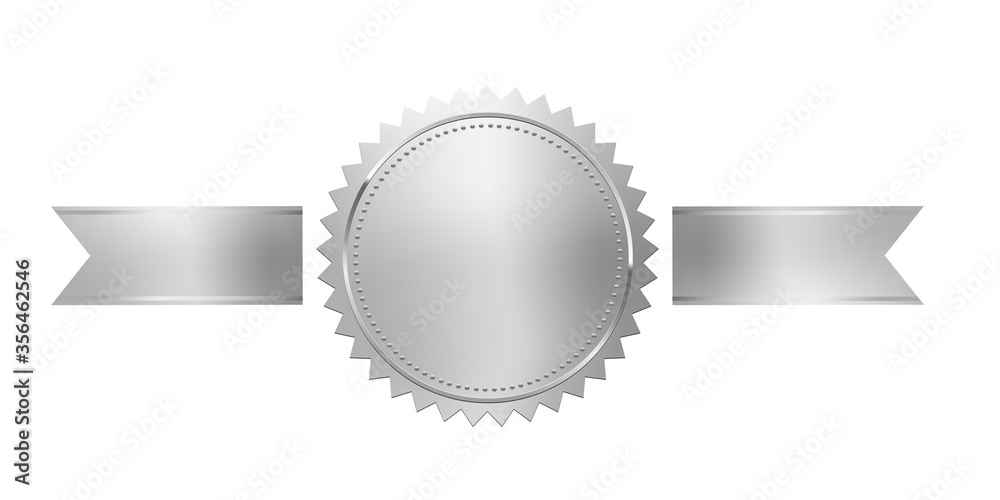 Fototapeta Silver stamp with horizontal ribbons isolated on white background. Luxury chrome seal. Vector design element.