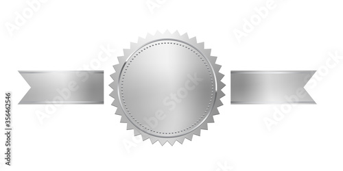 Fotografia Silver stamp with horizontal ribbons isolated on white background