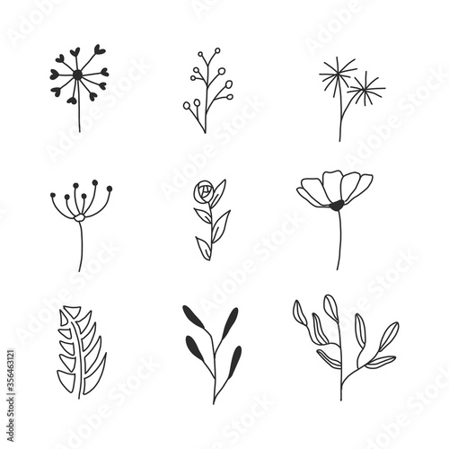 Fototapety, obrazy: Set of Rustic Vintage Hand drawn florals and laurels. Can be used for wedding invitations, scrapbooking, wrapping.