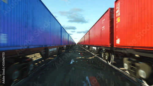 Fotografie, Obraz Freight train with cargo containers