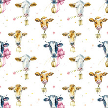 Seamless Pattern With Cow. Watercolor Hand Drawn Illustration
