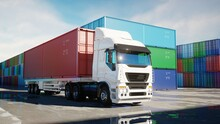 Truck In Container Depot, Whar...