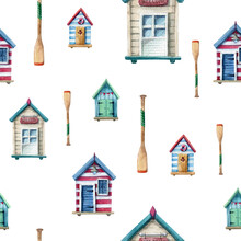 Watercolor Seamless Pattern With Beach Houses And Paddles