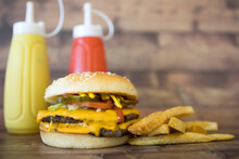 Western Double Cheeseburger With French Fries