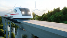 Futuristic, Modern Maglev Train Passing On Mono Rail. Ecological Future Concept. Aerial Nature View. 3d Rendering.