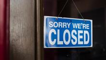 Close Up Of A Closed Sign Hang...