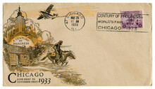 Chicago, Illinois, The USA  - 25 MAY 1933: US Historical Envelope: Cover With Art Cachet A Century Of Progress,  Purple Postage Stamp Three Cents, Federal Building, Cancellation World's Fair