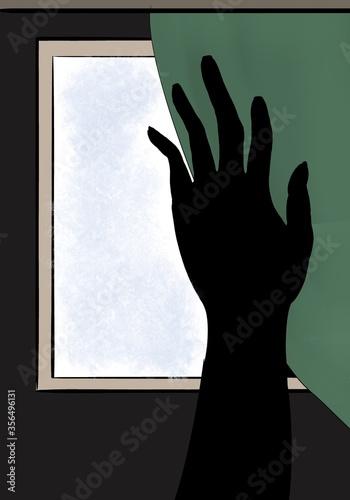 Silueta negra de mano  corriendo una cortina Canvas Print