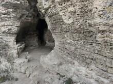 The Old Gray Rock Wall. Layered Sea Shell Rock Stone. The Round Cave .. Tsypovo. Moldova.