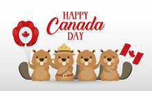 Canada Day Celebration Card With Beavers