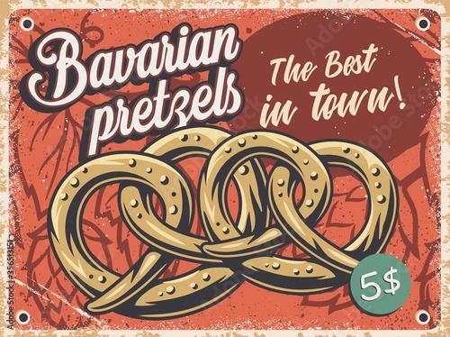Obraz Retro grange poster with bavarian beer pretzels - fototapety do salonu