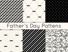 Set Of 6 Seamless Patterns For Fathers Day With Man Mustaches, Lines, Polka Dot, Abstract And Geometric Patterns. Collection Of Male Backgrounds. Modern Simple Hipster Texture.