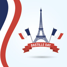 Bastille Day Celebration Card With Eiffel Tower And France Flags