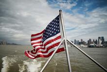 National Flag Of USA Waving On...