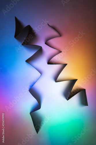 Modern festive abstract vector template with angular multicolored neon figures - 356519910