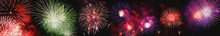 From Below Shot Of Wonderful Vivid Fireworks Exploding On Background Of Black Night Sky