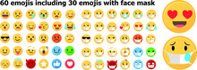 Set Of 60 Emojis Including Emo...