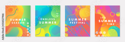 Bundle of modern vector summer posters with bright gradient background,shapes and geometric elements Fotobehang