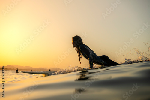 Photographie Surfer girl at sunset, Byron Bay Australia