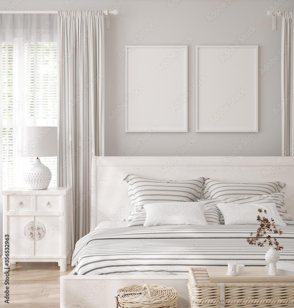 Fototapeta Mockup frame in white cozy bedroom interior background, 3d render
