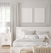 Leinwandbild Motiv Mockup frame in white cozy bedroom interior background, 3d render