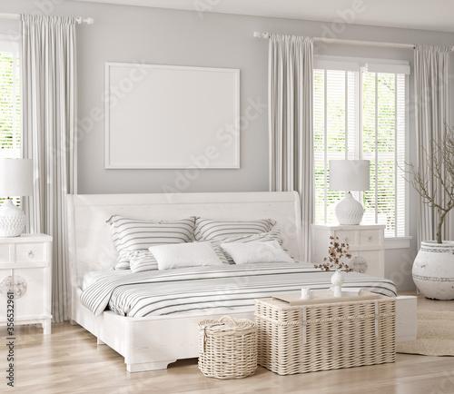 Obraz na plátne Mockup frame in white cozy bedroom interior background, 3d render