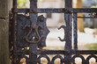 canvas print picture - Handle and keyhole on an old rusty metal gate.