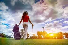 Gorgeous Golfer Lady With Golf...