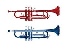 Trumpet Instrument Cartoon Music Graphic Vector