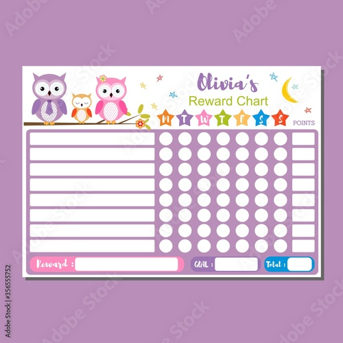 Tela Cute owl chore chart for kids
