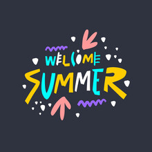 Welcome Summer Lettering. Mode...