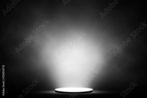 Fototapeta White spotlight smoke on stage entertainment background. obraz na płótnie