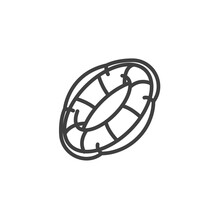 Lifebuoy Line Icon. Linear Style Sign For Mobile Concept And Web Design. Life Saver Buoy Outline Vector Icon. Symbol, Logo Illustration. Vector Graphics